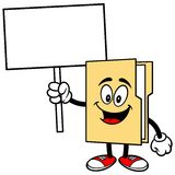 Folder Mascot with Sign Royalty Free Stock Photos