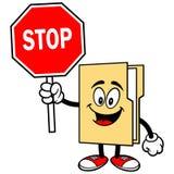 Folder Mascot with Stop Sign Stock Photos