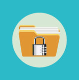 Folder with metal lock flat design vector. Icon Stock Images