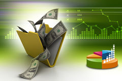 Folder with money. In color background Stock Photography