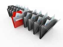 Folder. Open folder with papers 3d render. 3d illustration of Data sharing concept in white background Stock Images