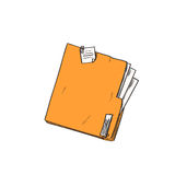 Folder Orange Paper Document File Sketch Retro Stock Image