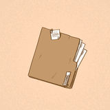 Folder Orange Paper Document File Sketch Retro Royalty Free Stock Photo