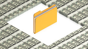 Folder with paper dollars Royalty Free Stock Images