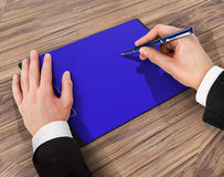 Folder with paper and pen, business concept Royalty Free Stock Image