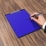 Folder with paper and pen, business concept. High resolution Royalty Free Stock Image