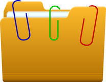 Folder with paperclip Royalty Free Stock Photography