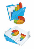 Folder And Papers With Charts Royalty Free Stock Photos