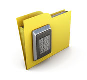Folder for papers with a combination lock. The concept of protection of the information in your computer. 3d render image Royalty Free Stock Photography