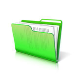 Folder with papers. Green transparent folder with papers. Document icon. Vector illustration Royalty Free Stock Photography