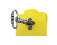 Folder for papers with the key. The concept of information security. 3d illustration Royalty Free Stock Photography