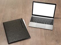 Folder for papers and laptop on a wooden texture. High resolution 3d Stock Image
