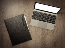 Folder for papers and laptop on a wooden texture. High resolution 3d Royalty Free Stock Photography