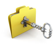 Folder for papers with the old key. Concept of protection of the information in your computer. 3d illustration Stock Photos