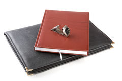 Folder for papers, organizer and watch Royalty Free Stock Photography