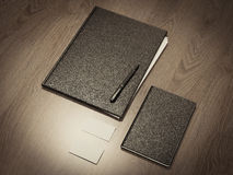 Folder for papers on a wooden texture Stock Photos