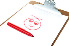 Folder patterned cheerful face. Paper holder with picture funny face Royalty Free Stock Photos