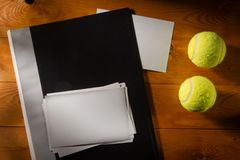 Folder with photos with tennis balls Stock Images