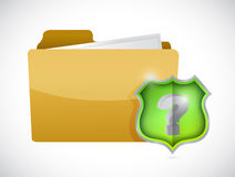Folder and question mark shield illustration Royalty Free Stock Image