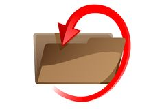 Folder with red arrow Stock Photo