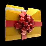 Folder with red ribbon and bow Royalty Free Stock Images