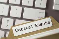 Folder Register with Capital Assets. 3D. Royalty Free Stock Photos
