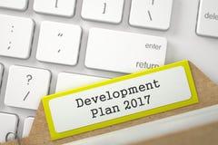 Folder Register with Inscription Development Plan 2017. 3d. Royalty Free Stock Image