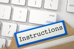 Folder Register with Inscription Instructions. 3D. Stock Photo