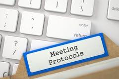 Folder Register with Inscription Meeting Protocols. 3D Stock Photos