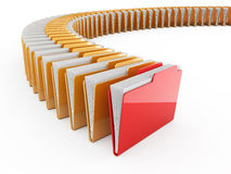 Folder row. 3d illustration of folder row with red one.  on white background Stock Images
