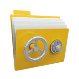 Folder with safe lock Royalty Free Stock Photo