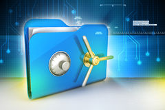 Folder with safe lock. In attractive color background Stock Photo