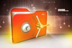 Folder with safe lock Stock Image