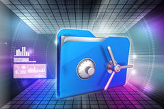 Folder with safe lock. In color background Royalty Free Stock Photo