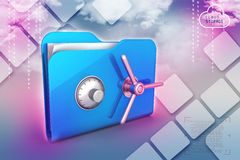 Folder with safe lock. In color background Royalty Free Stock Photos