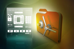 Folder with safe lock. In color background Stock Image