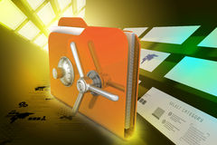 Folder with safe lock. In color background Royalty Free Stock Image