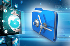 Folder with safe lock. In color background Stock Photography