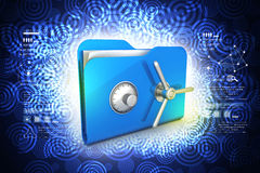 Folder with safe lock. In color background Royalty Free Stock Images
