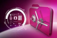 Folder with safe lock. In color background Royalty Free Stock Photography