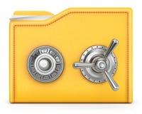 Folder. With safe lock. isolated on white background Royalty Free Stock Images