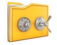 Folder. With safe lock. isolated on white background Stock Photo