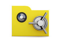 Folder with safe lock isolated on white background. Folder  with safe lock isolated on white background. 3d Stock Photography