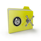 Folder safe. Yellow folder with a combination lock on the bank vault Royalty Free Stock Photography