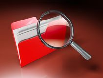 Folder search. 3d icon - folders under the magnifier Stock Photo