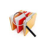 Folder search. 3d illustration of computer folders with magnifier glass Royalty Free Stock Photos