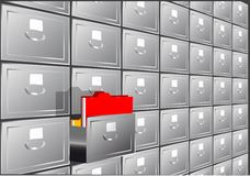 Folder search. File cabinet with half-open drawers containing Stock Images