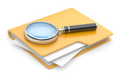 Folder search icon - folder under the magnifier. 3d illustration isolated on white Stock Photos