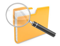 Folder search icon - folder under the magnifier. 3d illustration  on white Stock Photos