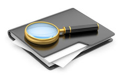 Folder search icon - folder under the magnifier. Stock Photos